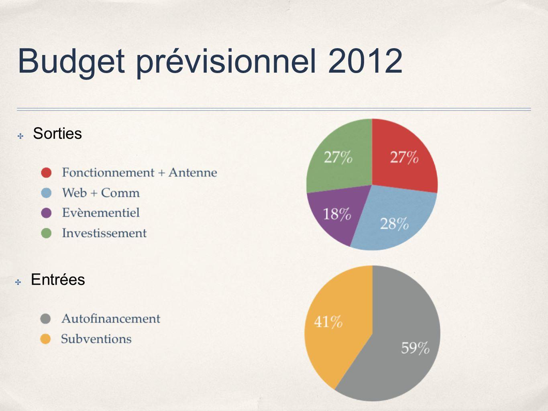 Budget prévisionnel 2012 Sorties Entrées