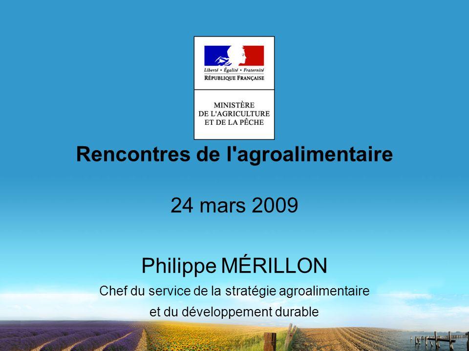 Rencontres de l'agroalimentaire 24 mars 2009 Philippe MÉRILLON Chef du service de la stratégie agroalimentaire et du développement durable