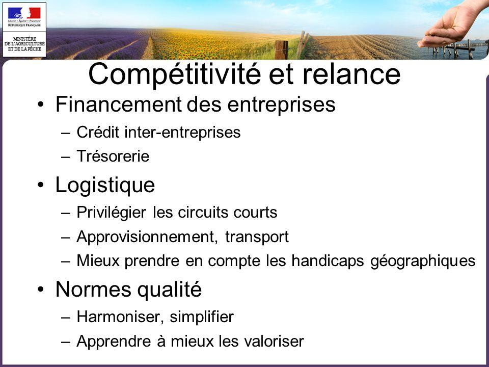 Compétitivité et relance Financement des entreprises –Crédit inter-entreprises –Trésorerie Logistique –Privilégier les circuits courts –Approvisionnem