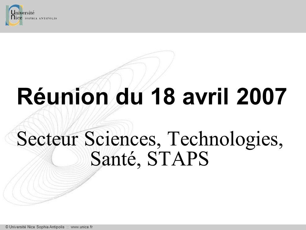 © Université Nice Sophia Antipolis :: www.unice.fr Taux de réussite UFR Sciences InscritsAdmis% Adm / Inscrits L198642443,0% L266238858,6% L367041962,5%