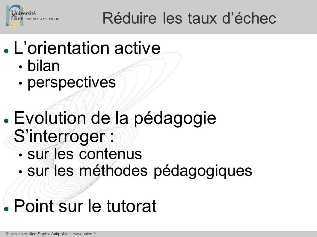 © Université Nice Sophia Antipolis :: www.unice.fr Réduire les taux déchec Lorientation active bilan perspectives Evolution de la pédagogie Sinterroge