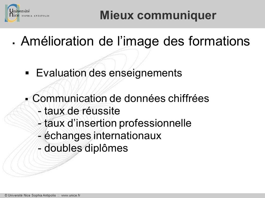 © Université Nice Sophia Antipolis :: www.unice.fr Mieux communiquer Amélioration de limage des formations Evaluation des enseignements Communication