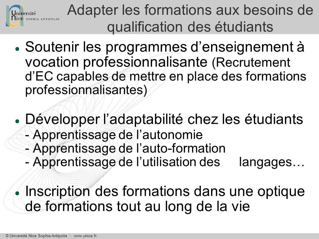 © Université Nice Sophia Antipolis :: www.unice.fr Adapter les formations aux besoins de qualification des étudiants Soutenir les programmes denseigne