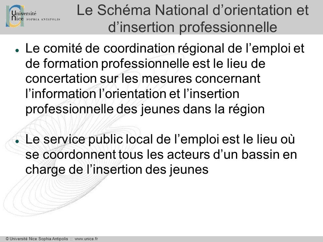 © Université Nice Sophia Antipolis :: www.unice.fr Le Schéma National dorientation et dinsertion professionnelle Le comité de coordination régional de