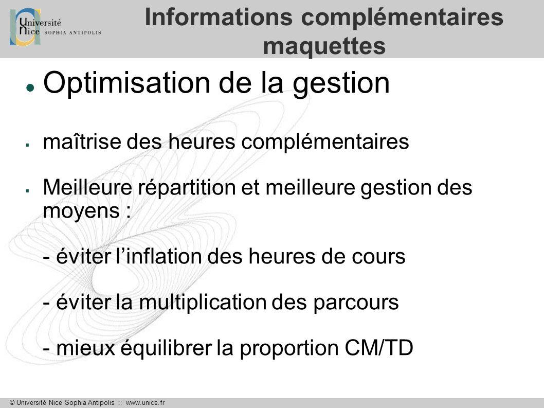 © Université Nice Sophia Antipolis :: www.unice.fr Informations complémentaires maquettes Optimisation de la gestion maîtrise des heures complémentair