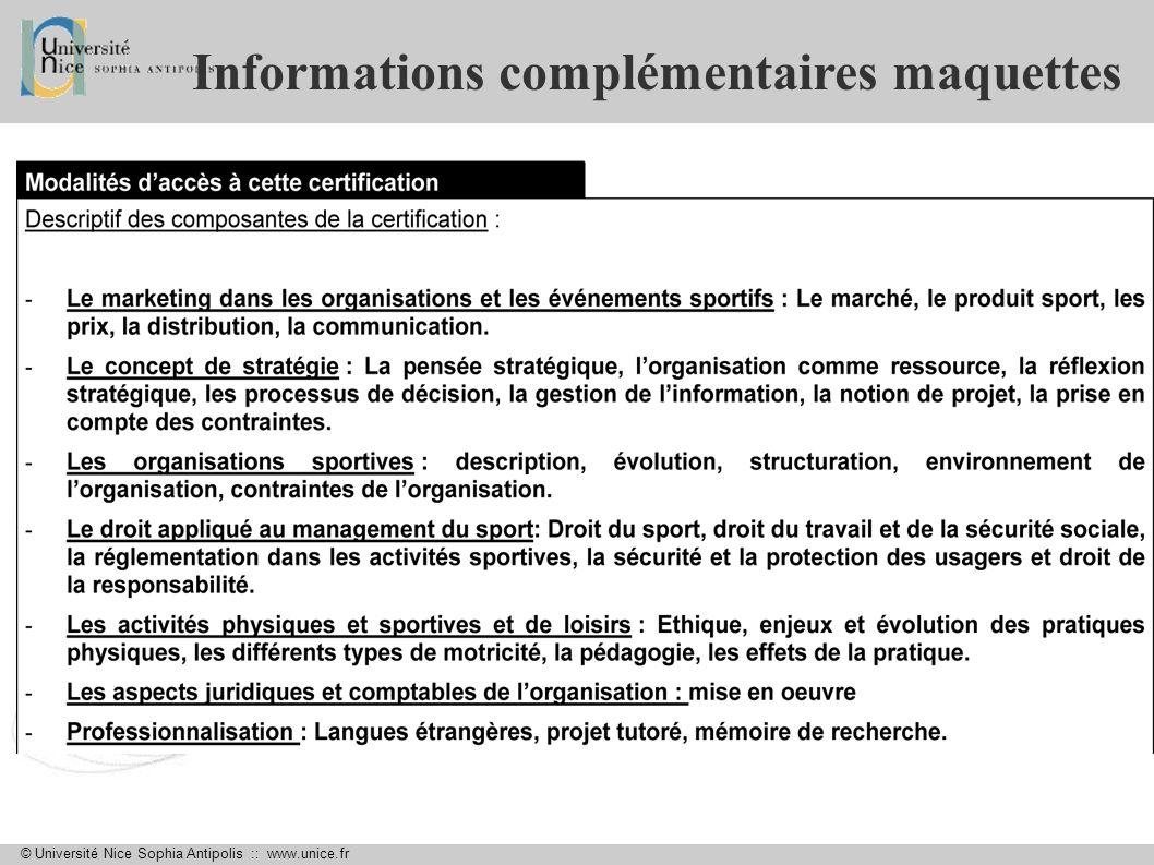 © Université Nice Sophia Antipolis :: www.unice.fr Informations complémentaires maquettes