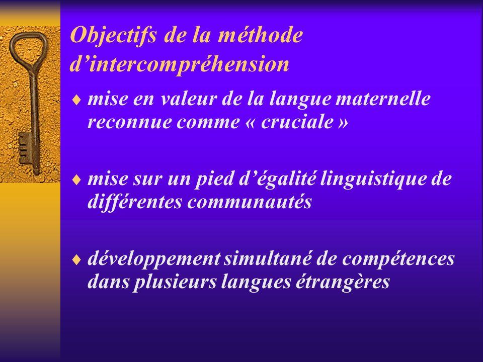 Objectifs de la méthode dintercompréhension mise en valeur de la langue maternelle reconnue comme « cruciale » mise sur un pied dégalité linguistique de différentes communautés développement simultané de compétences dans plusieurs langues étrangères