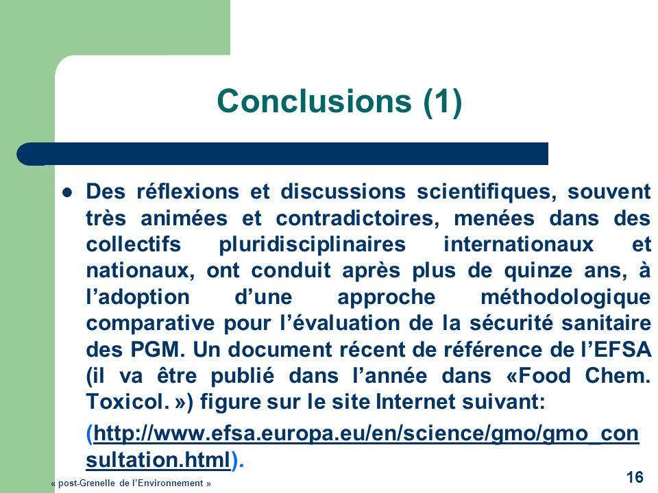 Conclusions (1) Des réflexions et discussions scientifiques, souvent très animées et contradictoires, menées dans des collectifs pluridisciplinaires i