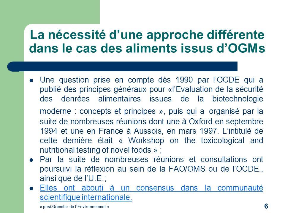 La nécessité dune approche différente dans le cas des aliments issus dOGMs Une question prise en compte dès 1990 par lOCDE qui a publié des principes