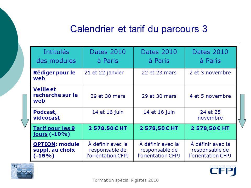 Formation spécial Pigistes 2010 Calendrier et tarif du parcours 3 Intitulés des modules Dates 2010 à Paris Dates 2010 à Paris Dates 2010 à Paris Rédig