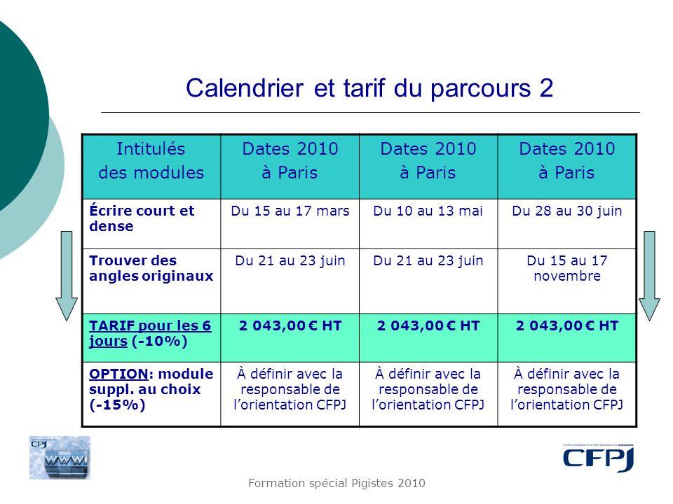 Formation spécial Pigistes 2010 Calendrier et tarif du parcours 2 Intitulés des modules Dates 2010 à Paris Dates 2010 à Paris Dates 2010 à Paris Écrir