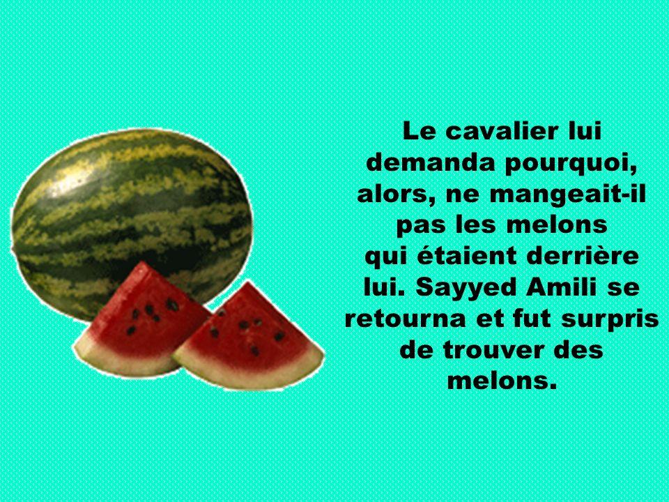 Le cavalier lui demanda pourquoi, alors, ne mangeait-il pas les melons qui étaient derrière lui.