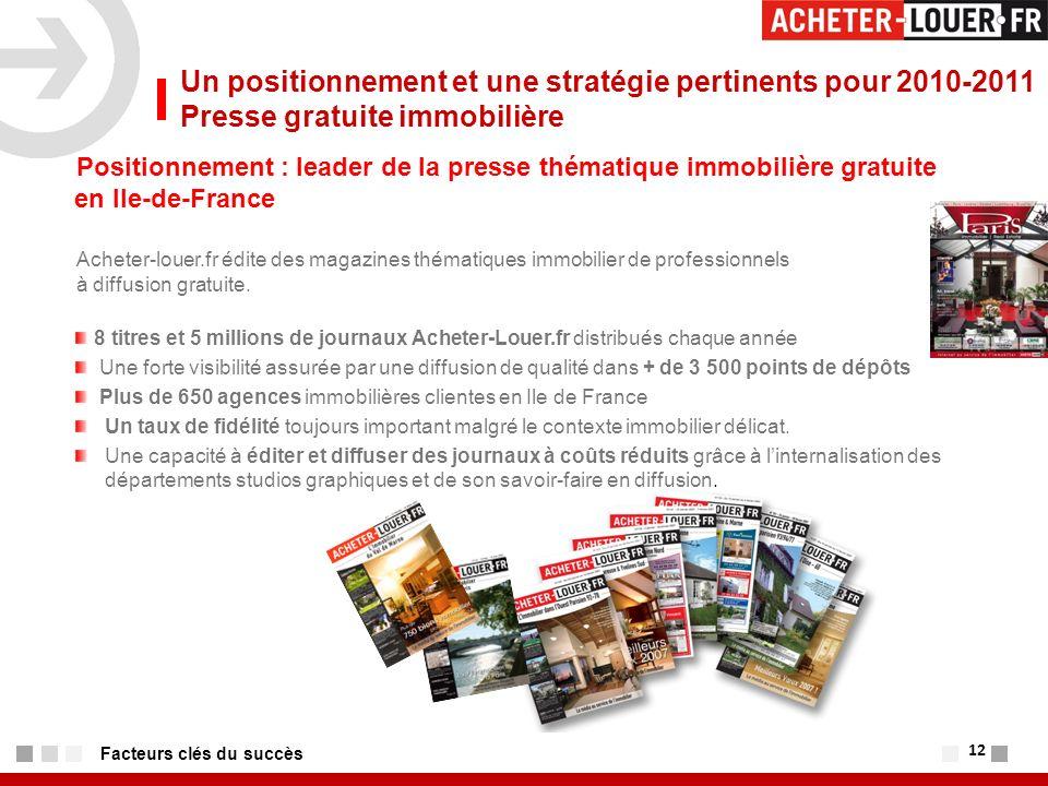 12 Facteurs clés du succès Positionnement : leader de la presse thématique immobilière gratuite en Ile-de-France Acheter-louer.fr édite des magazines thématiques immobilier de professionnels à diffusion gratuite.