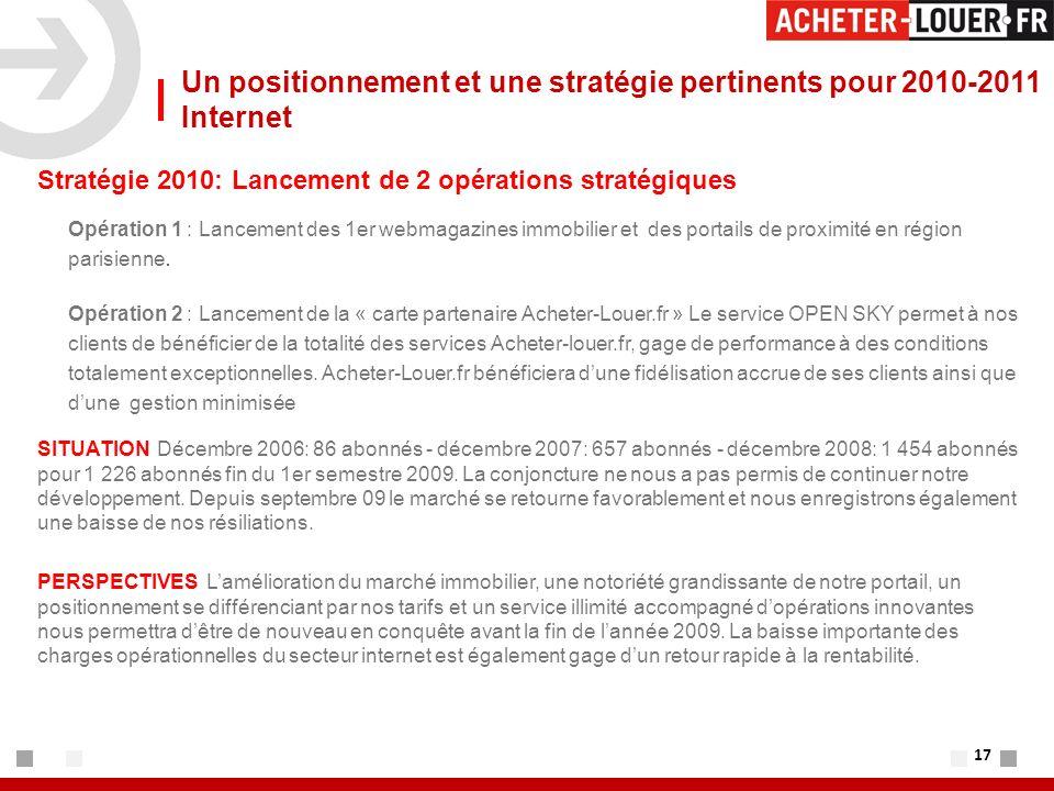 17 Un positionnement et une stratégie pertinents pour 2010-2011 Internet Stratégie 2010: Lancement de 2 opérations stratégiques Opération 1 : Lancement des 1er webmagazines immobilier et des portails de proximité en région parisienne.