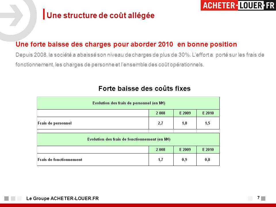 7 Le Groupe ACHETER-LOUER.FR Une structure de coût allégée Une forte baisse des charges pour aborder 2010 en bonne position Depuis 2008, la société a abaissé son niveau de charges de plus de 30%.