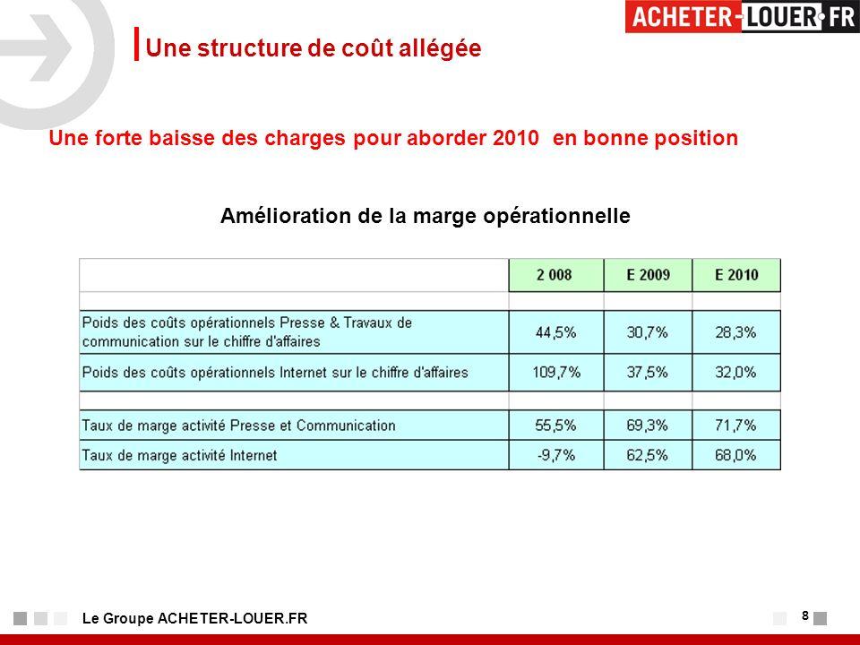 8 Le Groupe ACHETER-LOUER.FR Une structure de coût allégée Une forte baisse des charges pour aborder 2010 en bonne position Amélioration de la marge opérationnelle