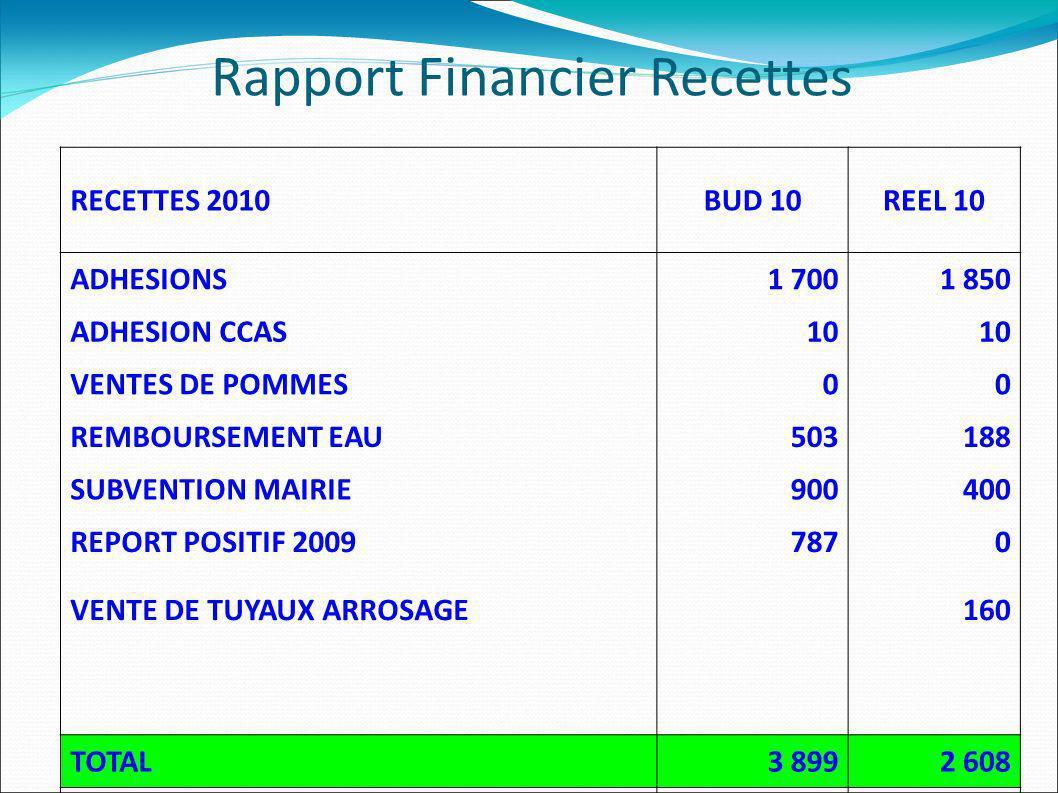 RECETTES 2010BUD 10REEL 10 ADHESIONS1 7001 850 ADHESION CCAS10 VENTES DE POMMES00 REMBOURSEMENT EAU503188 SUBVENTION MAIRIE900400 REPORT POSITIF 20097870 VENTE DE TUYAUX ARROSAGE160 TOTAL3 8992 608 Resultat152890 Rapport Financier Recettes