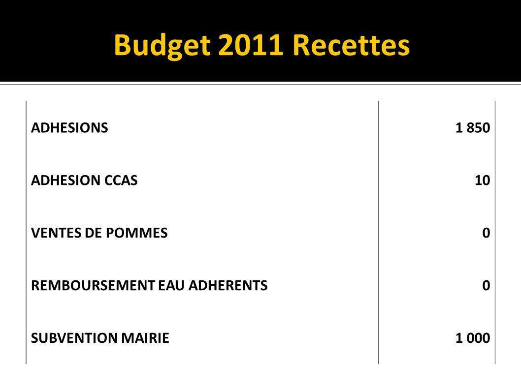 Budget 2011 Recettes ADHESIONS 1 850 ADHESION CCAS 10 VENTES DE POMMES 0 REMBOURSEMENT EAU ADHERENTS0 SUBVENTION MAIRIE 1 000