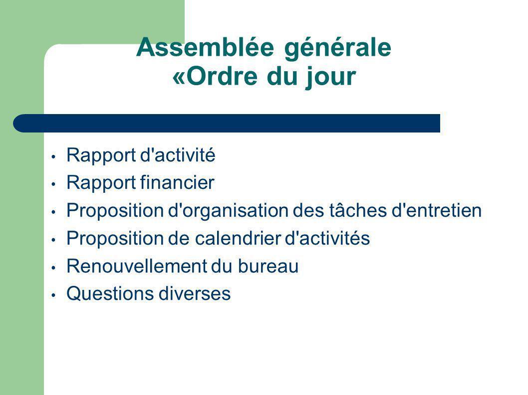 Evolution de l effectif Travaux d aménagement Activités de l association