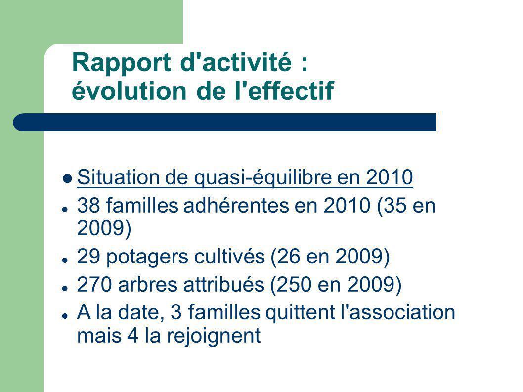 Rapport d activité : évolution de l effectif Situation de quasi-équilibre en 2010 38 familles adhérentes en 2010 (35 en 2009) 29 potagers cultivés (26 en 2009) 270 arbres attribués (250 en 2009) A la date, 3 familles quittent l association mais 4 la rejoignent