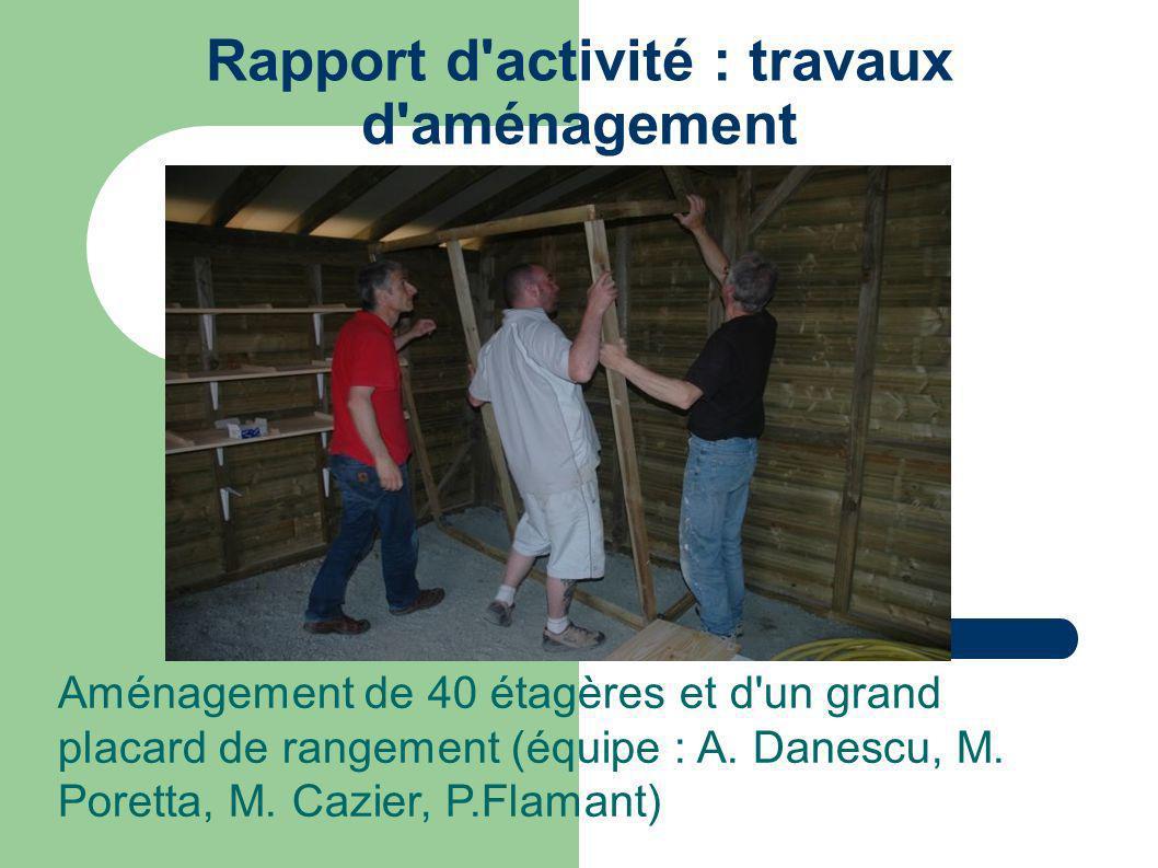 Rapport d activité : travaux d aménagement Aménagement de 40 étagères et d un grand placard de rangement (équipe : A.
