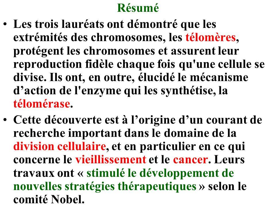 Résumé Les trois lauréats ont démontré que les extrémités des chromosomes, les télomères, protégent les chromosomes et assurent leur reproduction fidèle chaque fois qu une cellule se divise.