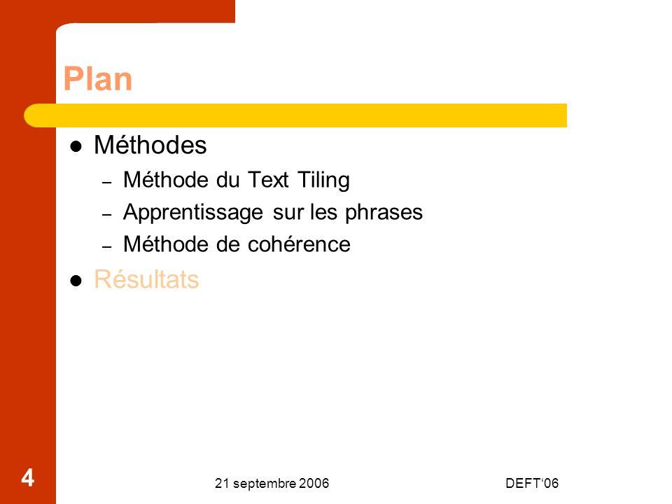 21 septembre 2006DEFT06 25 Conclusion Approches différenciées Proposition dune méthode de segmentation – Avec une zone de comparaison intermédiaire – Avec un nouveau calcul de similarité les liens – Avec une segmentation sur la diagonale Méthode non supervisée Méthode pouvant être combinée