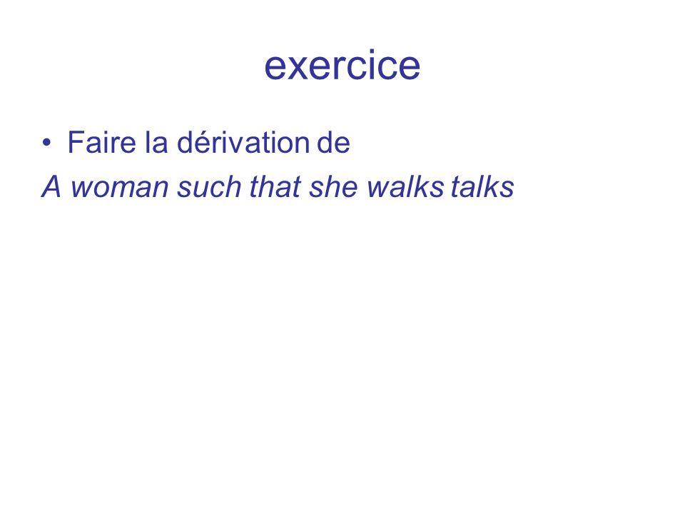 exercice Faire la dérivation de A woman such that she walks talks