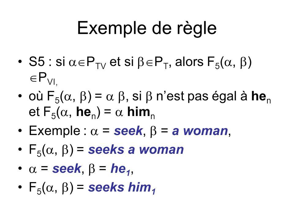 Exemple de règle S5 : si P TV et si P T, alors F 5 (, ) P VI, où F 5 (, ) =, si nest pas égal à he n et F 5 (, he n ) = him n Exemple : = seek, = a woman, F 5 (, ) = seeks a woman = seek, = he 1, F 5 (, ) = seeks him 1