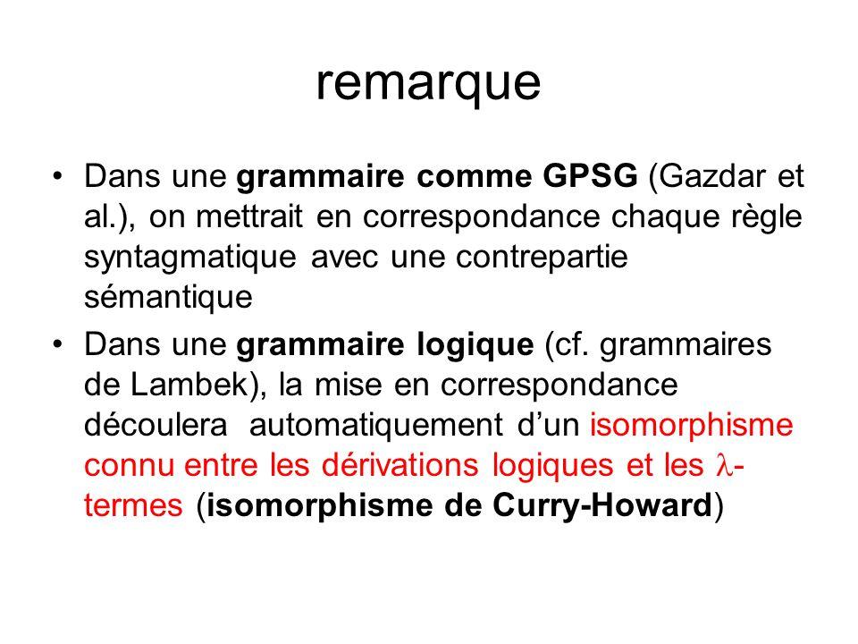 remarque Dans une grammaire comme GPSG (Gazdar et al.), on mettrait en correspondance chaque règle syntagmatique avec une contrepartie sémantique Dans une grammaire logique (cf.