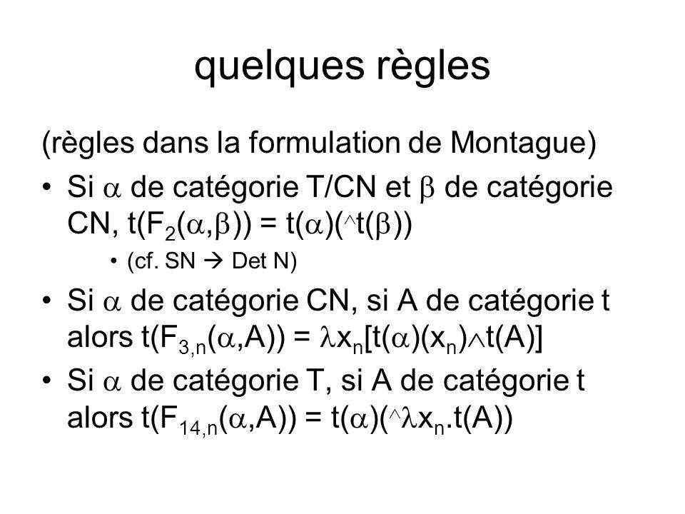 quelques règles (règles dans la formulation de Montague) Si de catégorie T/CN et de catégorie CN, t(F 2 (, )) = t( )( t( )) (cf.