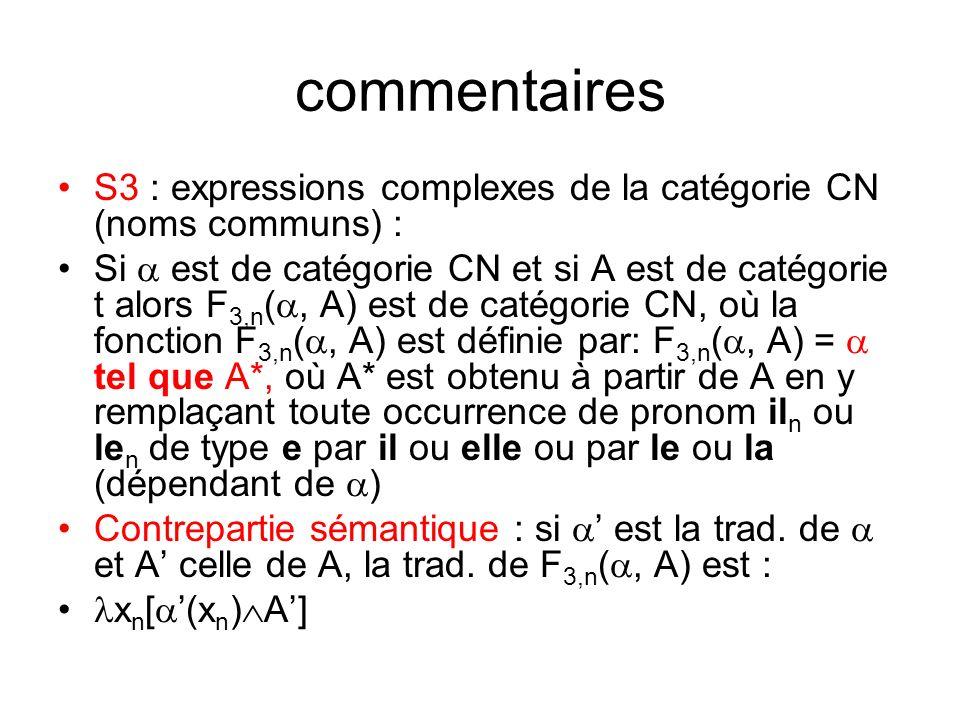 commentaires S3 : expressions complexes de la catégorie CN (noms communs) : Si est de catégorie CN et si A est de catégorie t alors F 3,n (, A) est de catégorie CN, où la fonction F 3,n (, A) est définie par: F 3,n (, A) = tel que A*, où A* est obtenu à partir de A en y remplaçant toute occurrence de pronom il n ou le n de type e par il ou elle ou par le ou la (dépendant de ) Contrepartie sémantique : si est la trad.