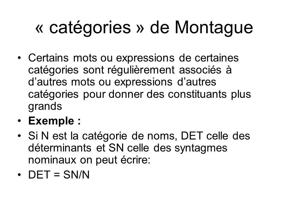 « catégories » de Montague Certains mots ou expressions de certaines catégories sont régulièrement associés à dautres mots ou expressions dautres catégories pour donner des constituants plus grands Exemple : Si N est la catégorie de noms, DET celle des déterminants et SN celle des syntagmes nominaux on peut écrire: DET = SN/N