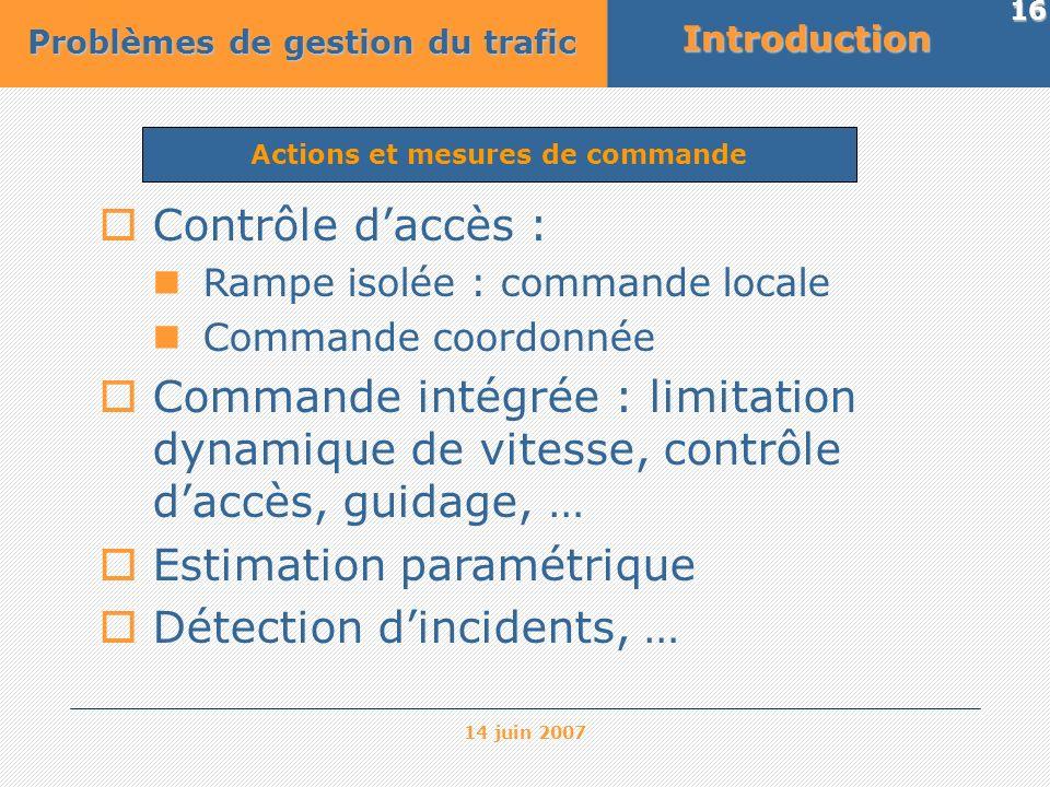 14 juin 2007 16 Actions et mesures de commandeIntroduction Problèmes de gestion du trafic Contrôle daccès : Rampe isolée : commande locale Commande co