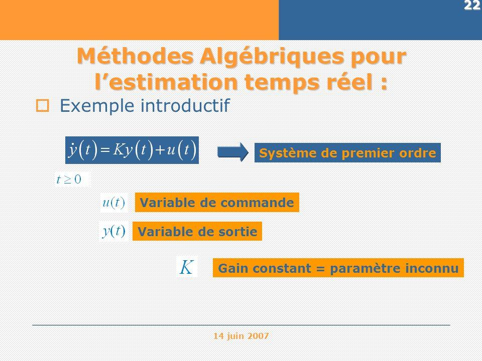14 juin 2007 22 Méthodes Algébriques pour lestimation temps réel : Exemple introductif Système de premier ordre Variable de commande Variable de sorti