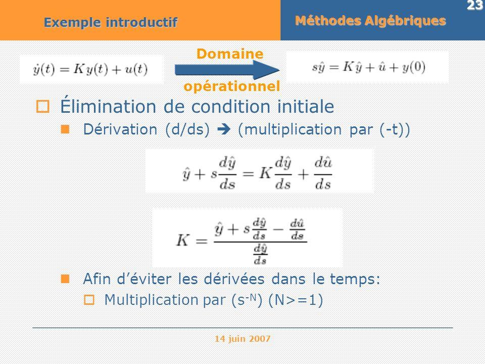 14 juin 2007 23 Méthodes Algébriques Exemple introductif Domaine opérationnel Élimination de condition initiale Dérivation (d/ds) (multiplication par