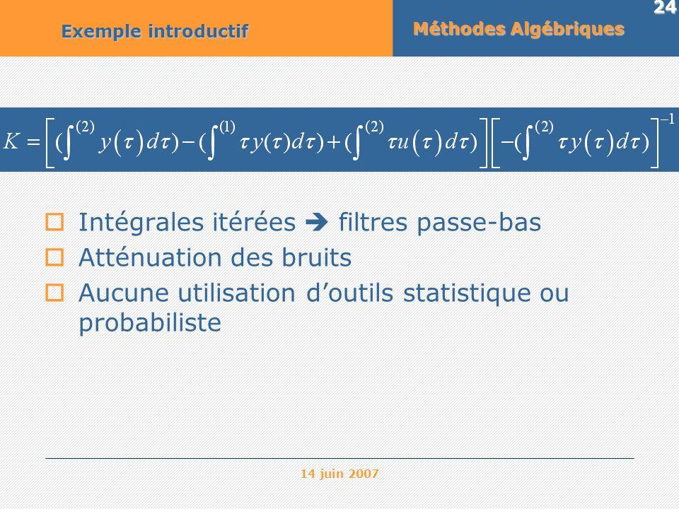 14 juin 2007 24 Méthodes Algébriques Exemple introductif Intégrales itérées filtres passe-bas Atténuation des bruits Aucune utilisation doutils statis
