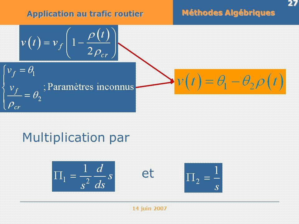 14 juin 2007 27 Méthodes Algébriques Application au trafic routier Multiplication par et
