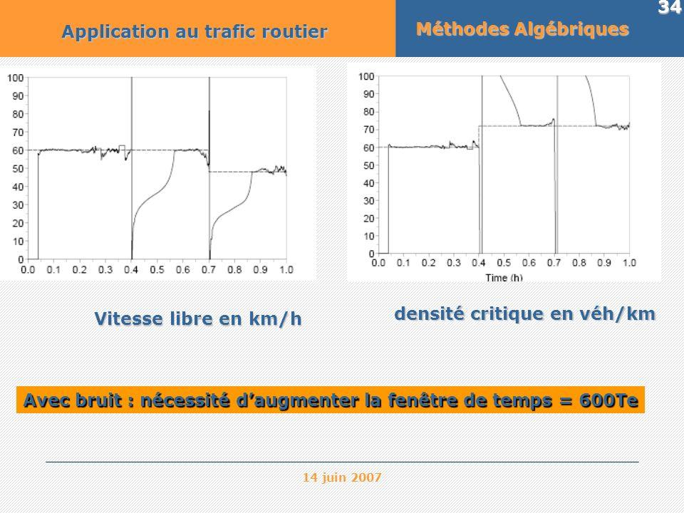 14 juin 2007 34 Méthodes Algébriques Application au trafic routier densité critique en véh/km Vitesse libre en km/h Avec bruit : nécessité daugmenter