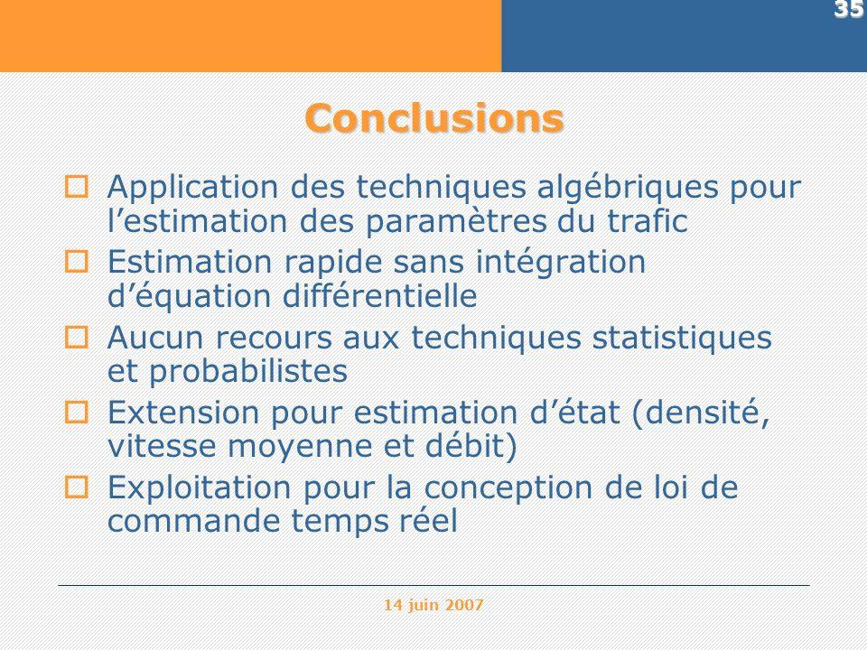14 juin 2007 35 Conclusions Application des techniques algébriques pour lestimation des paramètres du trafic Estimation rapide sans intégration déquat