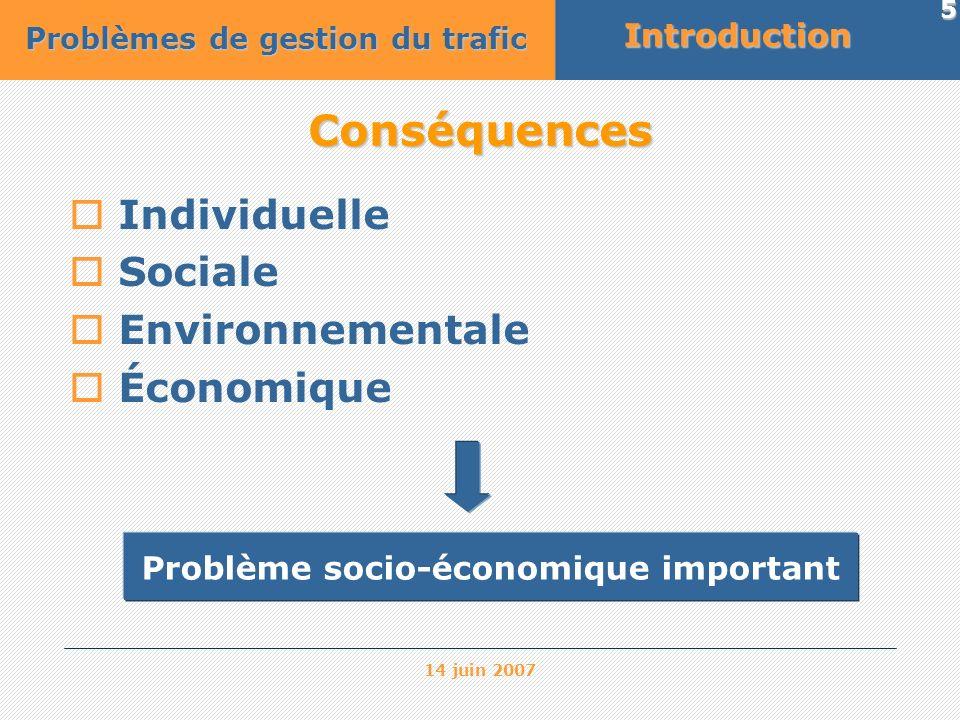 14 juin 2007 5 Conséquences Individuelle Sociale Environnementale Économique Problème socio-économique importantIntroduction Problèmes de gestion du t