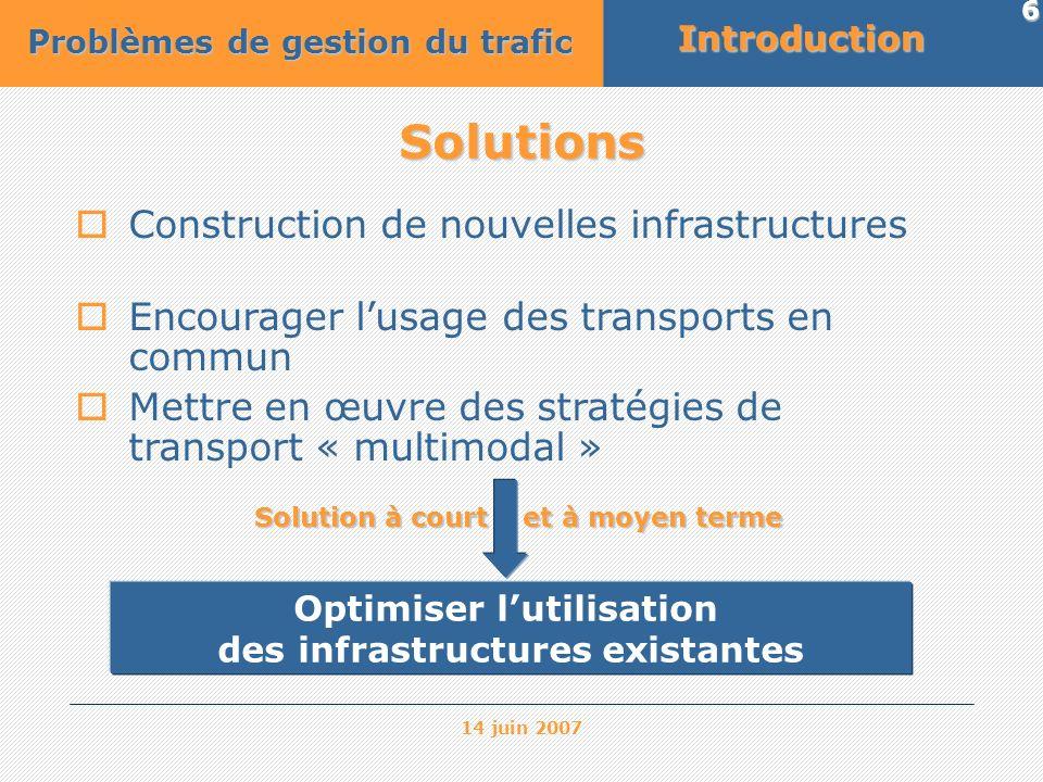 14 juin 2007 6 Solutions Construction de nouvelles infrastructures Encourager lusage des transports en commun Mettre en œuvre des stratégies de transp