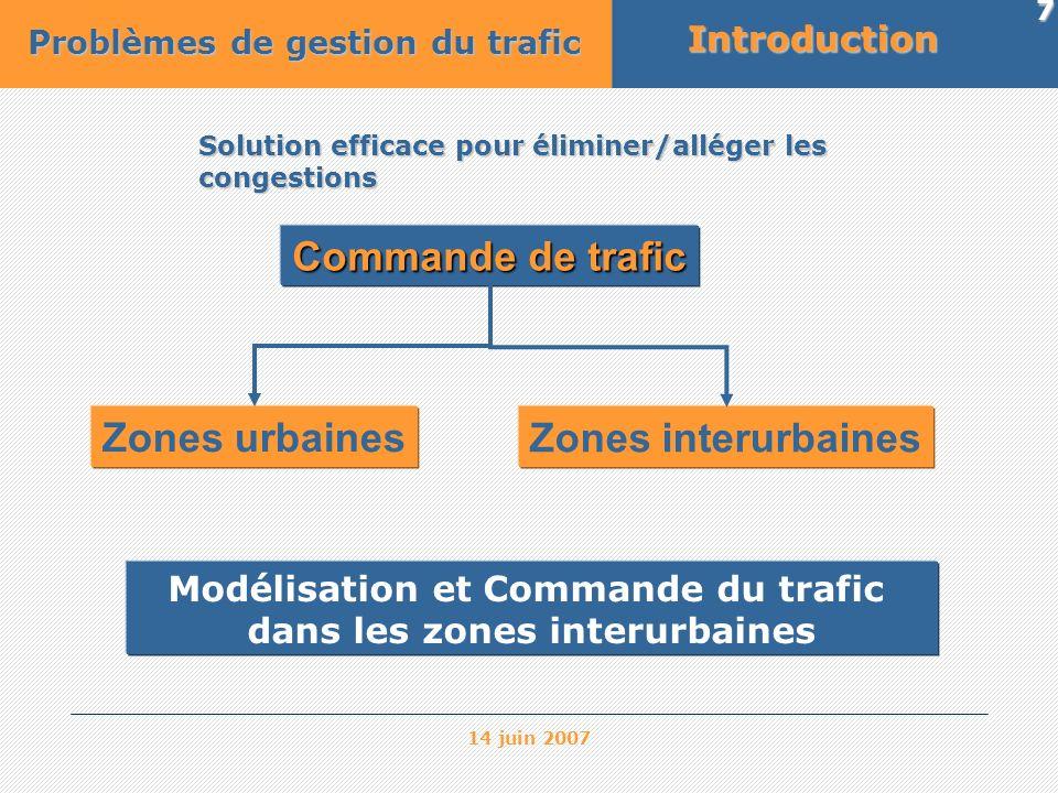 14 juin 2007 8 Modèles du trafic Microscopiques Mésoscopiques Modèles de simulation Modèles de simulation trafic urbain trafic urbain nombre élevé de données nombre élevé de données coûts de développement coûts de développement élevés élevés Mieux adaptés à la commande du trafic routier Macroscopiques