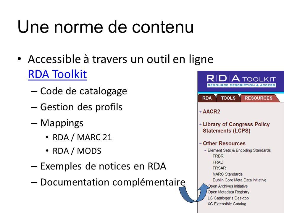 Une norme de contenu Accessible à travers un outil en ligne RDA Toolkit RDA Toolkit – Code de catalogage – Gestion des profils – Mappings RDA / MARC 2