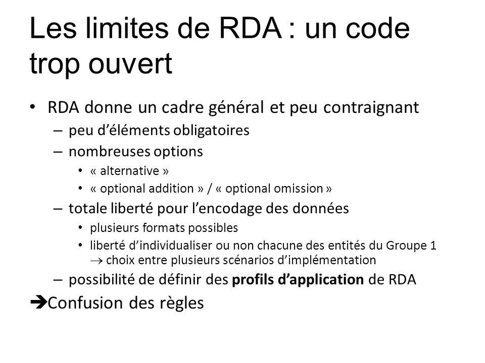 Les limites de RDA : un code trop ouvert RDA donne un cadre général et peu contraignant – peu déléments obligatoires – nombreuses options « alternativ