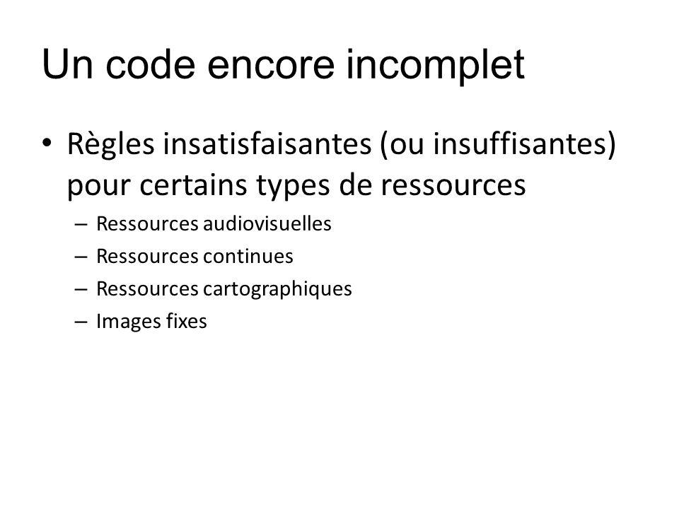 Un code encore incomplet Règles insatisfaisantes (ou insuffisantes) pour certains types de ressources – Ressources audiovisuelles – Ressources continu