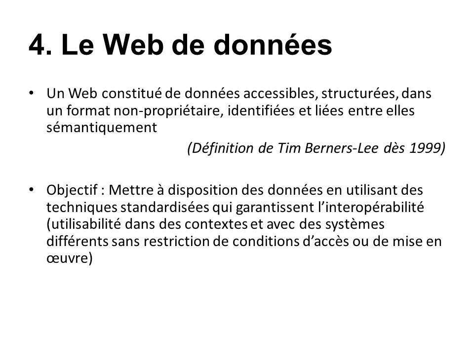 4. Le Web de données Un Web constitué de données accessibles, structurées, dans un format non-propriétaire, identifiées et liées entre elles sémantiqu