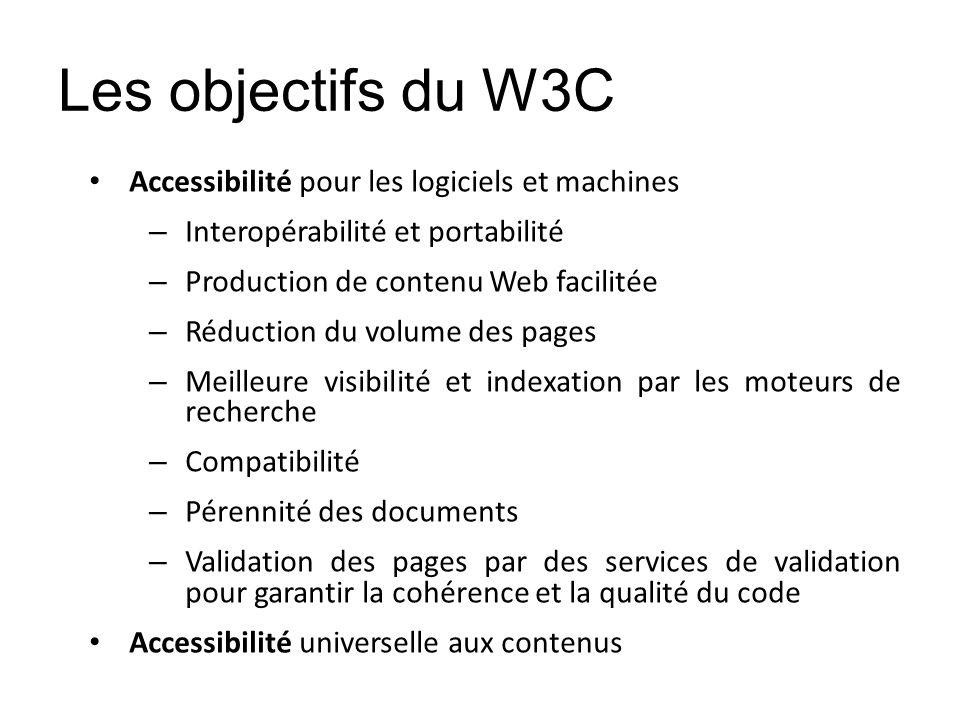 Les objectifs du W3C Accessibilité pour les logiciels et machines – Interopérabilité et portabilité – Production de contenu Web facilitée – Réduction