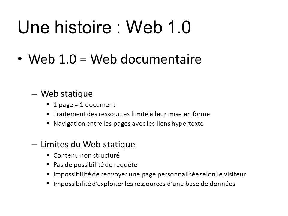 Une histoire : Web 1.0 Web 1.0 = Web documentaire – Web statique 1 page = 1 document Traitement des ressources limité à leur mise en forme Navigation