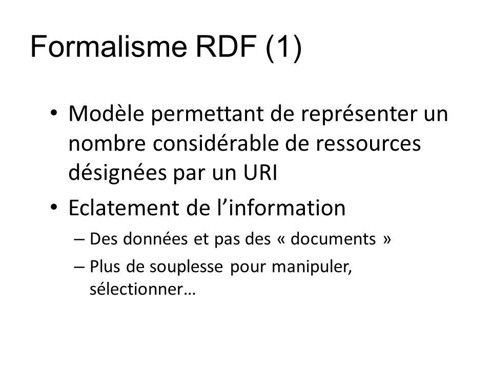 Formalisme RDF (1) Modèle permettant de représenter un nombre considérable de ressources désignées par un URI Eclatement de linformation – Des données